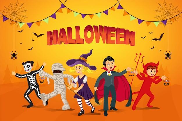 Glücklicher halloween-hintergrund. kinder in halloween-kostüm gekleidet, um süßes oder saures mit orange hintergrund zu gehen