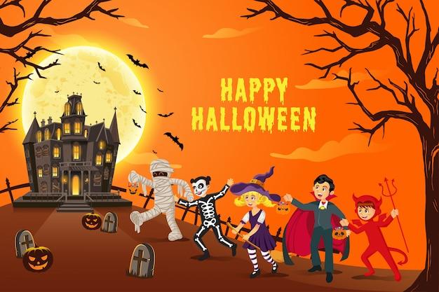 Glücklicher halloween-hintergrund. kinder in halloween-kostümen für süßes oder saures mit einem mysteriösen spukhaus in einer mondnacht