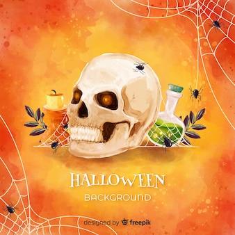 Glücklicher halloween-hintergrund mit dem schädel und gift