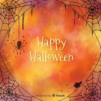 Glücklicher halloween-hintergrund mit entworfenem spinnennetz