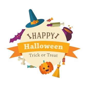 Glücklicher halloween-hintergrund mit flachen ikonen