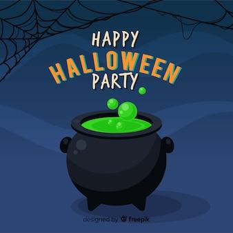 Glücklicher halloween-hintergrund mit hexenkessel