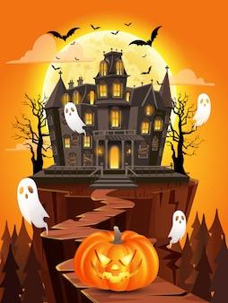 Glücklicher halloween-hintergrund mit kürbis, fliegenden geistern, spukhaus auf vollmond. illustration für glückliche halloween-karte, flieger, fahne und plakat