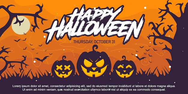 Glücklicher halloween-hintergrund mit kürbis-schattenbild