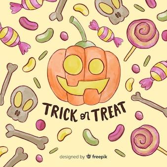 Glücklicher halloween-hintergrund mit kürbis und den schädeln