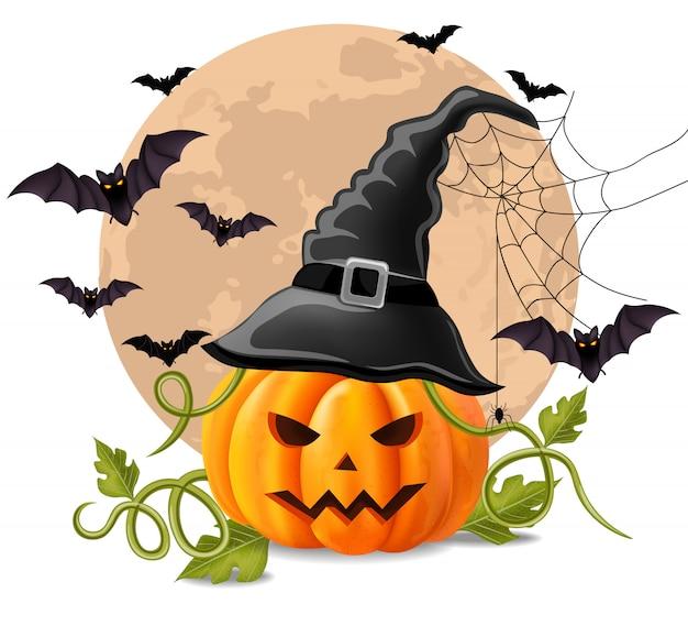 Glücklicher halloween-hintergrund mit kürbis und hieben