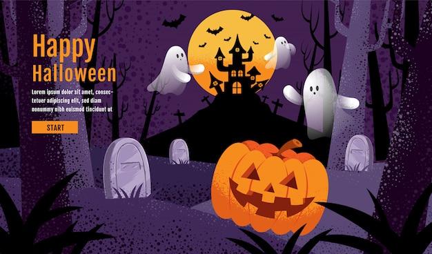 Glücklicher halloween-hintergrund mit kürbis