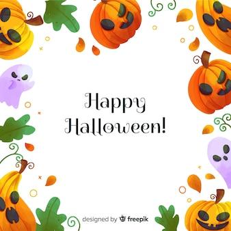 Glücklicher halloween-hintergrund mit lustigen kürbisgesichtern