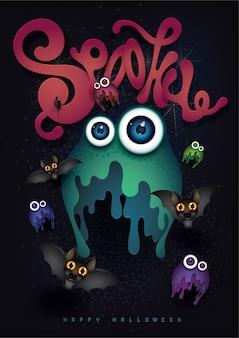 Glücklicher halloween-hintergrund mit nettem monster