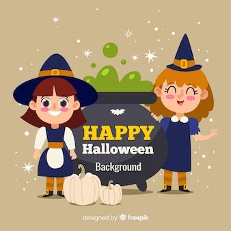 Glücklicher halloween-hintergrund mit netten hexen und großem kessel