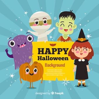 Glücklicher halloween-hintergrund mit netten zeichentrickfilm-figuren