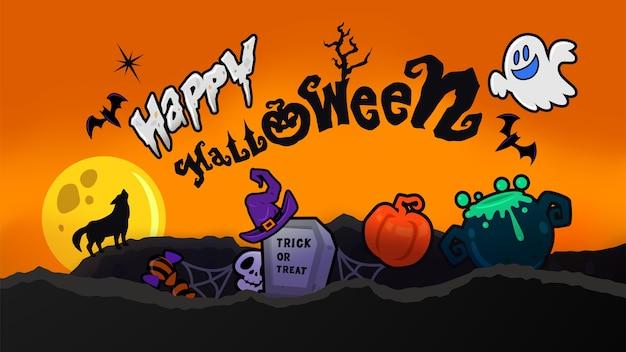 Glücklicher halloween-hintergrund mit niedlichen gruseligen elementen