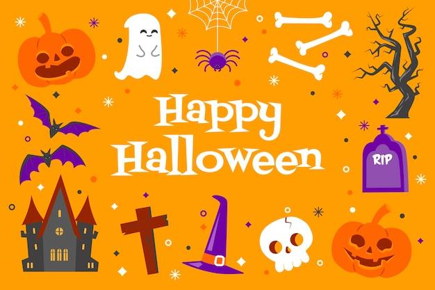 Glücklicher halloween-hintergrund mit niedlichen objekten im flachen entwurf auf gelbem hintergrund