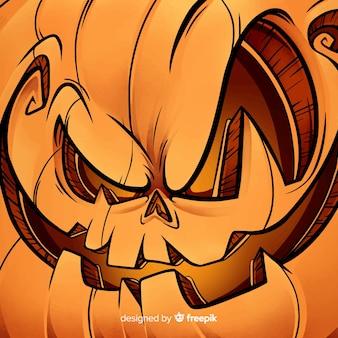 Glücklicher halloween-hintergrund mit schlechtem kürbisgesicht
