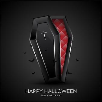 Glücklicher halloween-hintergrund mit schwarzem sarg