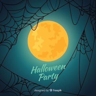 Glücklicher halloween-hintergrund mit spinnennetz und vollmond