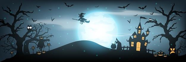 Glücklicher halloween-hintergrund mit spukhaus, vollmond und hexe.
