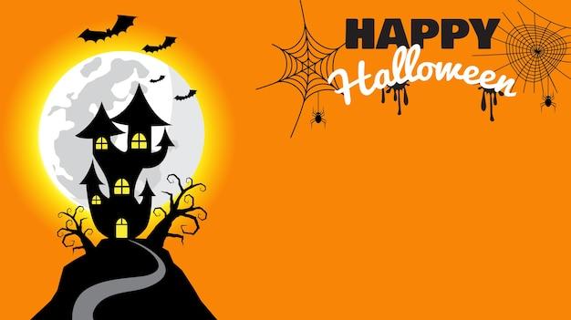 Glücklicher halloween-hintergrund mit spukhaus