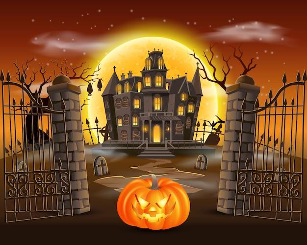 Glücklicher halloween-hintergrund mit unheimlichem kürbis auf friedhof mit spukhaus und vollmond. illustration für glückliche halloween-karte, flieger und plakat