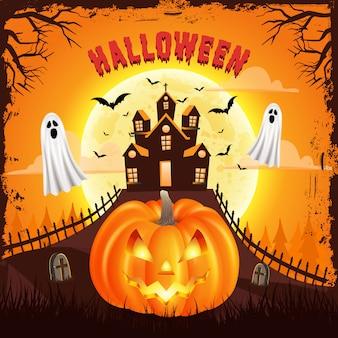 Glücklicher halloween-hintergrund mit unheimlichem kürbis mit gruseliger burg, fliegendem geist und vollmond. illustration für glückliche halloween-karte, flieger, fahne und plakat
