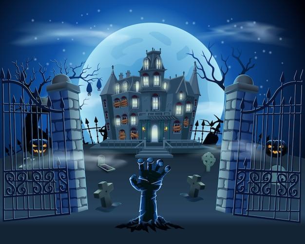 Glücklicher halloween-hintergrund mit zombie-hand vom boden auf friedhof mit spukhaus, kürbissen und vollmond