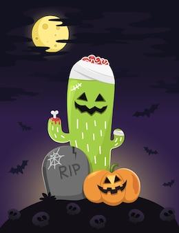 Glücklicher halloween-hintergrund mit zombiekaktus.