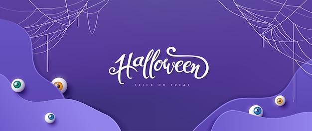 Glücklicher halloween-hintergrund, papierschnittart.