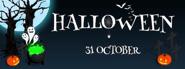 Glücklicher halloween-isometrischer kesselkürbis-fahnenvektor