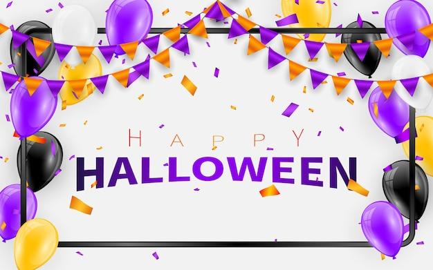 Glücklicher halloween-karnevals-hintergrund. orange lila flaggen girlande, konfetti-konzept für party. feier