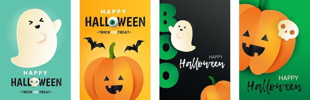 Glücklicher halloween-kartensatz. aufschrift boo, kürbis, fledermaus, schädel und geist im papierschnitt-stil. halloween-grußplakate.