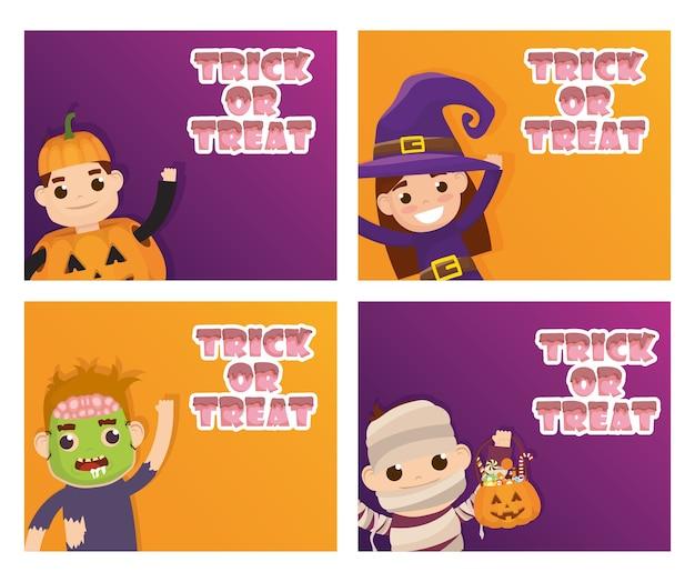 Glücklicher halloween-kartentrick des behandelns der beschriftungen und des kostümierten kindervektorillustrationsentwurfs
