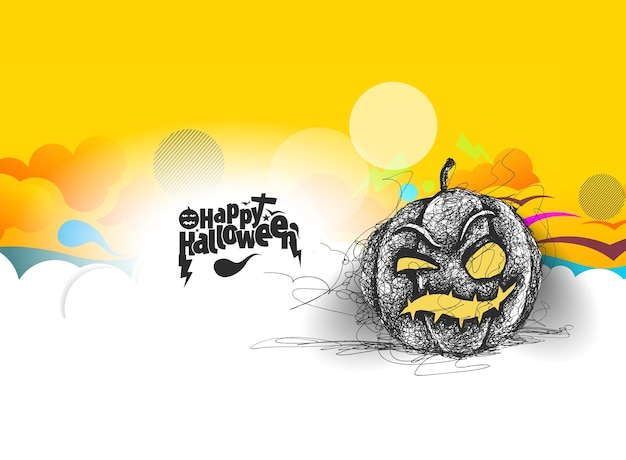 Glücklicher halloween-kürbis, hand gezeichnete skizzen-vektor-design.