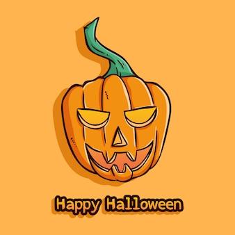 Glücklicher halloween-kürbis mit lächelngesicht auf orange