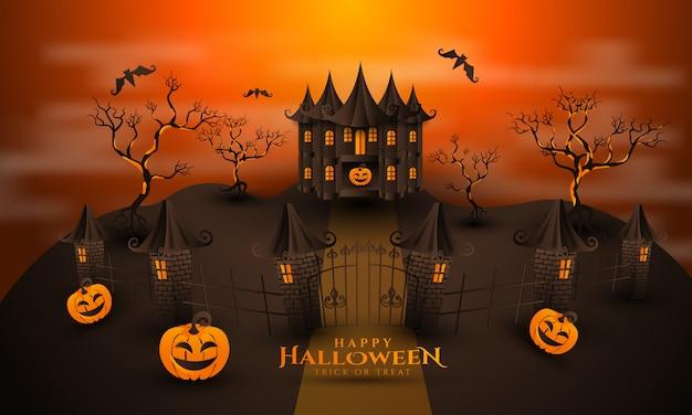Glücklicher halloween-kürbishintergrund