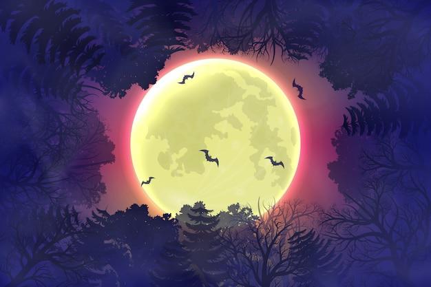 Glücklicher halloween-nachthintergrund mit waldschattenbild.