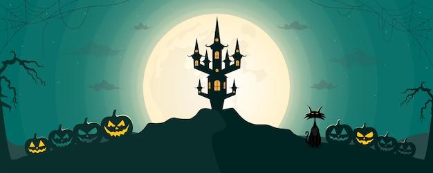 Glücklicher halloween-nachtlandschaftshintergrund mit mond und unheimlichem schloss.