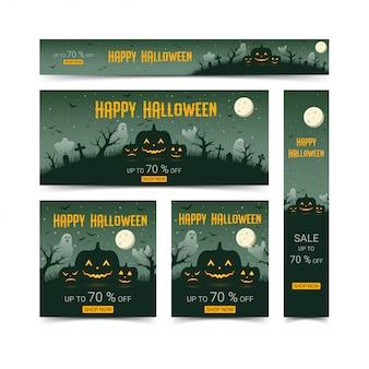 Glücklicher halloween-netzfahnen-designschablonensatz, illustration