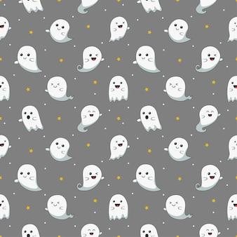 Glücklicher halloween niedlicher geist beängstigend mit nahtlosem muster der verschiedenen gesichter lokalisiert auf grauem hintergrund.