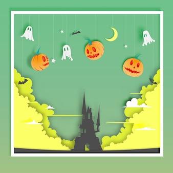 Glücklicher halloween-papierkunsthintergrund mit geistvektorillustration