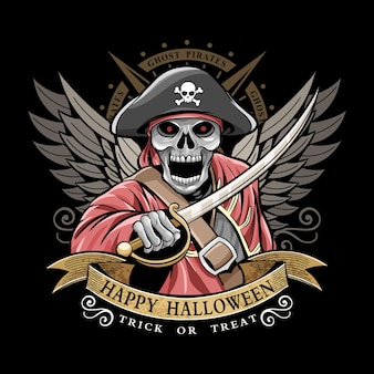 Glücklicher halloween-piraten-designvektor