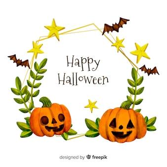 Glücklicher halloween-rahmen des aquarells mit kürbisen