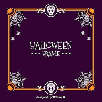 Glücklicher halloween-rahmen mit spinnennetzen