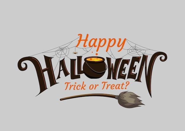 Glücklicher halloween-schriftzug. feiertagskalligraphie.