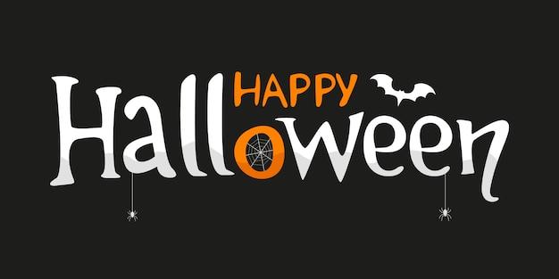 Glücklicher halloween-schriftzug für grußkarte