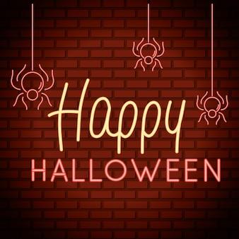 Glücklicher halloween-schriftzug im neonlicht mit hängenden spinnen