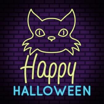 Glücklicher halloween-schriftzug im neonlicht mit katzenkopf