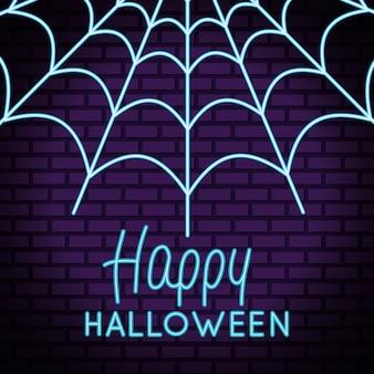 Glücklicher halloween-schriftzug im neonlicht mit spinnennetz