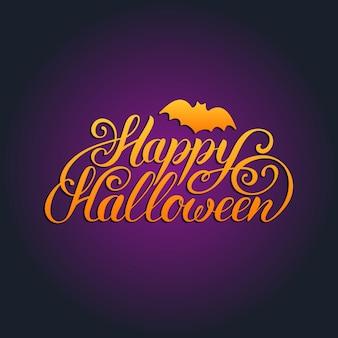 Glücklicher halloween-schriftzug mit fledermaus