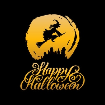 Glücklicher halloween-schriftzug mit hexe für partyeinladungskarte, plakat. allerheiligen hintergrund.
