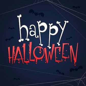 Glücklicher halloween-schriftzug mit knochen und fledermäusen
